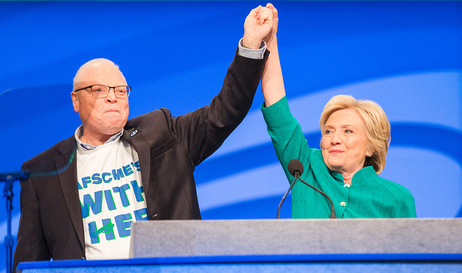 Pres. Lee Saunders and Hillary Clinton